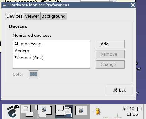 The preferences window